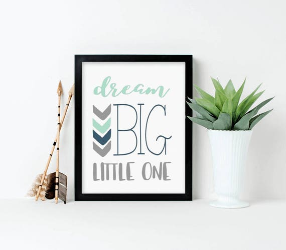 Nursery Art, Dream Big Little One, Mint, Gray, Navy, Framed, Canvas, Art Print #609