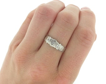 Vintage Edwardian Diamond Engagement Ring, White Gold Diamond Wedding Band, Art Deco Style Engagement