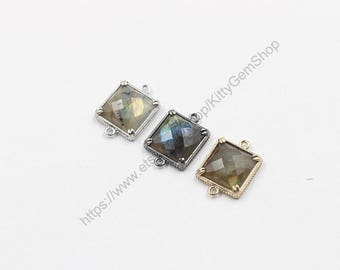 14mm Faceted Labradorite Connectors -- With Electroplated Gold Edge Charms Wholesale Supplies YHA-294-19