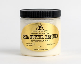 8 oz SHEA BUTTER REFINED Organic Raw Cold Pressed Grade A From Ghana 100% Pure