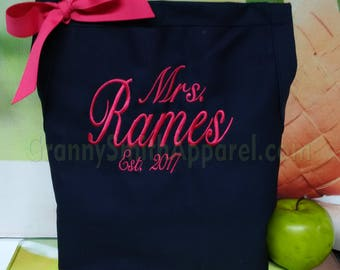 "Mrs. Apron with ""Estd. date"" & 3 Pockets your color choice bow or no (24""L x 28""W) Customize and personalize your color combination!"
