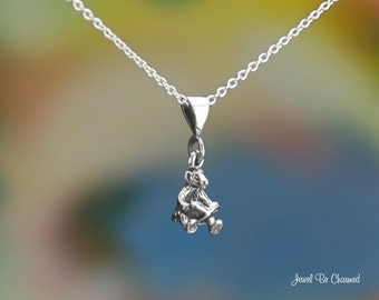 Sterling Silver Tiny Bear Reading a Book Necklace or Pendant Only .925