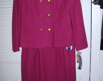 Vintage Pendleton Pink Wool Suit - Deep Pink - Classic Preppy Find Size 10