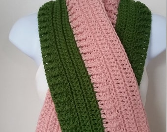 Pink and Green textured scarf