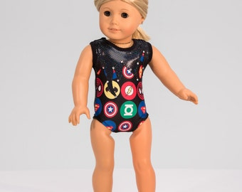 "Superhero Doll Gymnastics Leotard - Captain America, Batman, Superman fits American Girl and other 18"" Dolls"