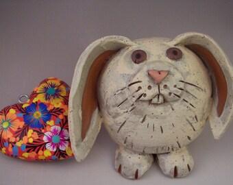 Pottery Bunny Sculpture, Original OOAK Ceramic Lop-Earred Rabbit Figurine, Handmade Collectible Animal Sculpture, Easter Decoration