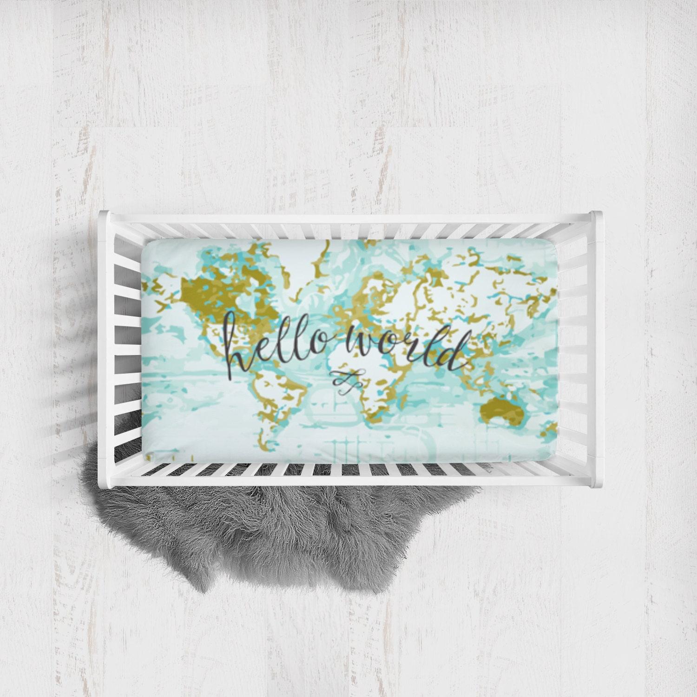 Fitted Crib Sheet Hello World Aqua Crib Sheet By SuiteBaby