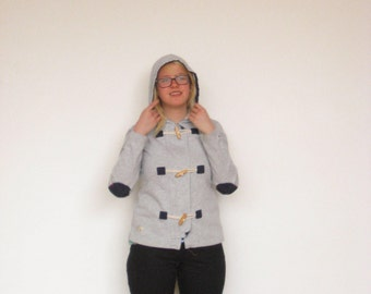 Tommy Hilfiger Gray Nautical Hoodie with Toggles and Elbow Patches