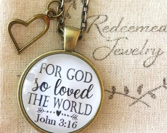 "Scripture Necklace ""For God so loved the world."" John 3:16"