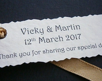 50 Personalised Wedding Favour Tags