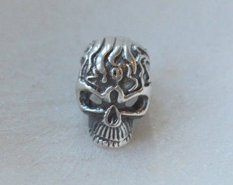 Sterling Silver Skull Bead with Flame Design, 13x8 mm,4mm hole,Skeleton Bead,Skull Beads,Sugar Skulls,Flaming Skull,Tattoo,One Bead,KP14-32