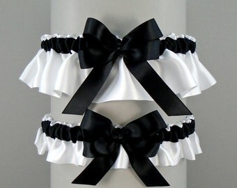 Wedding Garter Set Black On White Or Ivory Garters With Double Loop Bow Simply