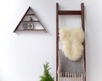 Blanket Ladder | Rustic Wood Quilt Ladder | Dark Walnut Brown Stained | Towel Hanger | Living Room Decor | Bathroom Decor | 5' blanket ladde