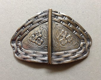 Silver Western Floral Pattern Belt Buckle, Engraved Silver Calico Pattern Buckle