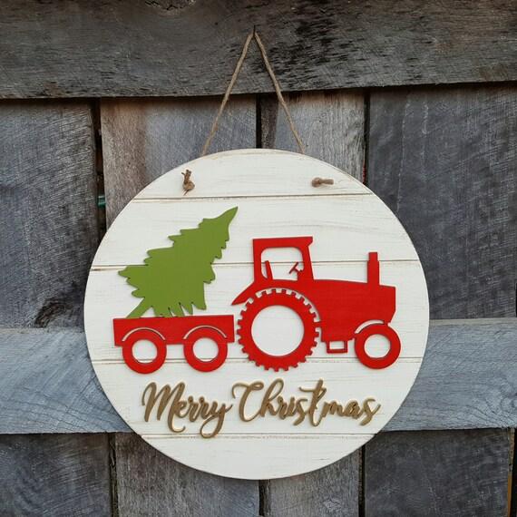 Merry Christmas Wreath Tractor Christmas Door Hanger