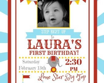 Circus Birthday Invitation with Picture