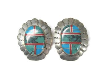 Vintage Zuni Turquoise Coral Inlay Earrings Claudine Haloo