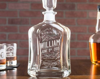 Personalized Whiskey Decanter, 21st Birthday Gift for Him, Personalized Dad, Gift for Dad, Engraved Decanter, Etched Liquor Decanter