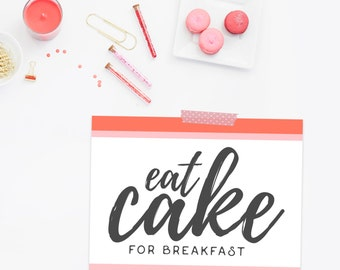 Cake For Breakfast // Kate Spade Inspired // Birthday Art // Printable Birthday // Printable Wall Art // Food Poster // The Busy Bee