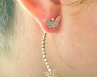 Silver Studs - Butterfly Studs - Tiny Studs - Long Studs - Tribal Studs - Indian Studs - Ethnic Studs - Long Earrings - Statement (ES20)