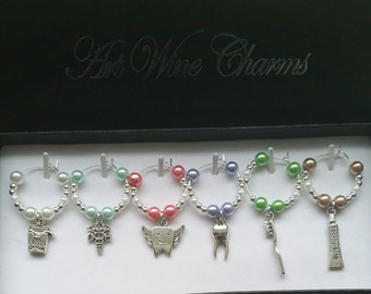 6 Dental Themed Wine Charms, Dental Hygienist, Themed Party, Party Favors, Thank You, Gift, Graduation,  DH caduceus