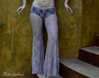 Tribal belly dance, fusion pants in antique pink flower lace, Dance pants, Festival pants
