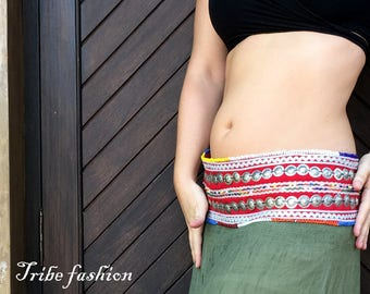 Belly dance, tribal gypsy belt, Metal Parts Belt, tribal fusion belt