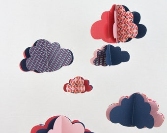 Paper + Garland clouds mobile with clouds - blue pink red graph - limited EDITION - Christmas gift decor baby room baby