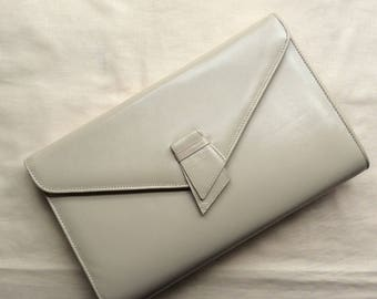 Vintage 70s cream leather clutch bag, Van Dal, made in the UK