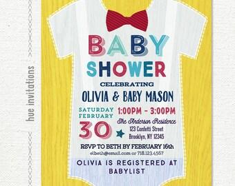 onesie baby shower invitation for boy, little man printable baby shower invitation, mustard yellow navy blue red bow tie baby shower invite