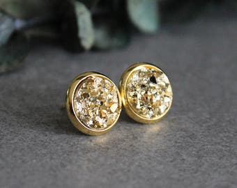 Gold Stud Earrings, Gold Earrings, Gold Druzy Earrings, Gold Post Earrings, Gold Glitter Earrings, Gold Earrings, Gold Studs, 10MM Earrings