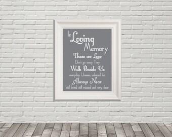 In Loving Memory Wedding Sign, Those We Love, Not Far Away, Walk Besides Me, Always Near, Missed, Printable PDF, Instant Download File