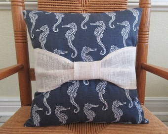 Seahorse pillow, Beach pillow, Nautical pillow, Burlap bow pillow, Blue pillow, FREE SHIPPING!