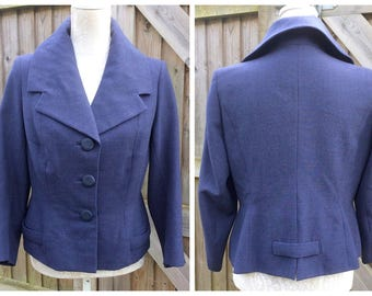 "Lovely 1950's ""ALEXANDRINE"" Made in the UK - Gabardine Jacket - Blue - Size M/L"