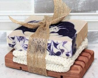 Soap Set Trio with Organic Soap, Organic Spa Cloth & Cedar Soap Deck - Gift Set - Customize Gift - Vegan Soap - Sulfate-Free Soap