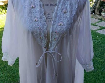 Shabby chic vintage dressing gown white tulle purple cloud chic vintage wedding wedding wedding flowers sensual woman dressing gown
