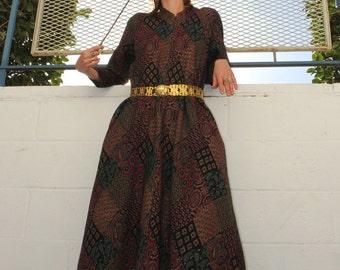 Vintage  1970s Lounge Dress // Dinner Party Dress // Wizard Robe // Golden Tapestry Knit // Zipper Front //