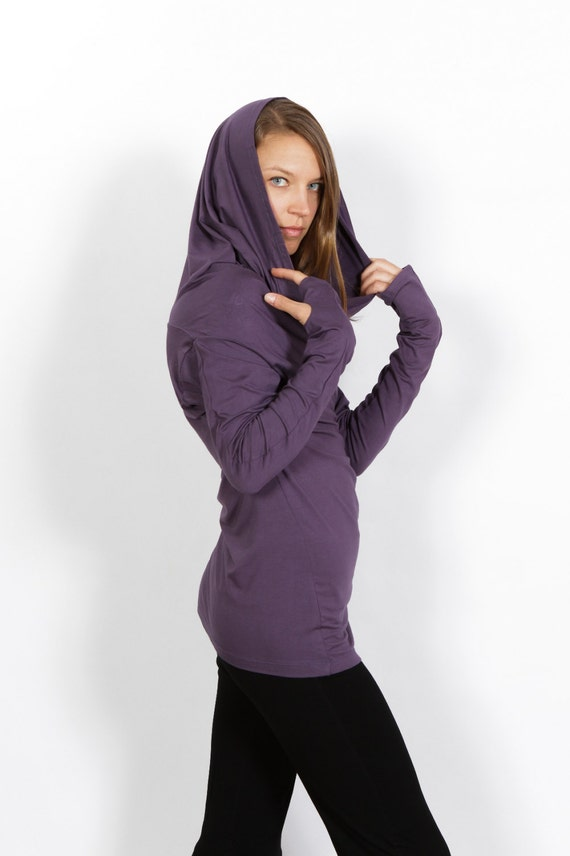Star Cowl Neck Hoodie Shirt with Thumbholes in Amethyst