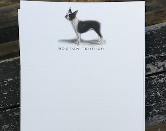 Boston Terrier Dog Note Card Set