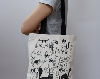 "Cat design 13.2""(w) * 15.5""(h) Plain unbleached Cotton canvas tote bag, Market bag, Eco friendly cotton fabric"