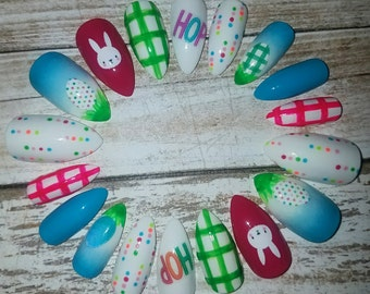SALE! Spring Bunny Stiletto Nails- Fake Nails- False Nails- Faux Nails- Press on Nails- Glue on Nails- Acrylic Nails- Artificial Nails