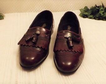 Vintage Mens Dexter Oxblood Leather Fringe Tassel Loafers Size 13M