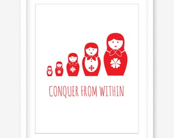 Scandi printable wall art - babushka printable quote art print - Scandinavian art - red and white - inspirational quote - POSTER DOWNLOAD