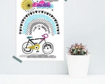 Rain or Shine Cycling Print, Print for Cyclists,