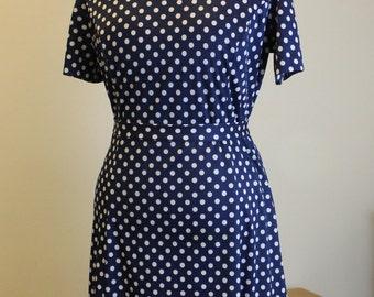 Damon Dress 1960s Classic Navy Blue Polka Dot Shift Dress