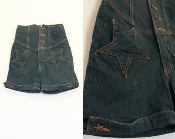 Vintage Ultra High Waist Denim Shorts// Size XS Small Navy Blue Denim Shorts// Star Print Denim