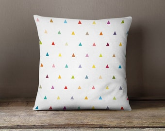 Decorative pillow cover, geometric pillow cover, triangles,nursery,throw pillow,throw pillow,kid,bedding,colourful pillow,pattern,kid pillow