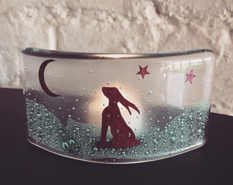 Moon Gazing Hare Fused Glass Curve, tea light candle shade, gift for nature lover