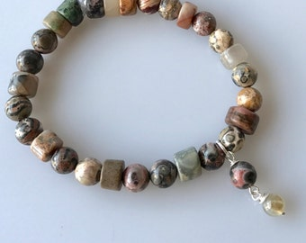 Ocean Jasper and Agate Stretchy Bracelet