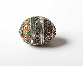 Small Berber egg or tagmoute bead silver and enamel